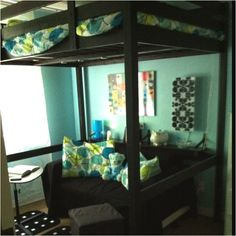 Loft bed, couch, foot stool, and decorations, all ikea