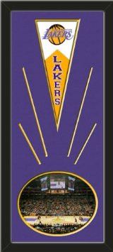 Los Angeles Lakers Wool Felt Mini Pennant & Staples Center 2009 Photo - Framed With Team Color Double Matting In A Quality Black Frame-Awesome & Beautiful