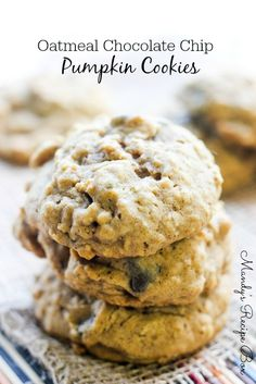 """These Oatmeal Chocolate Chip Pumpkin Cookies are such a cozy cookie with their pumpkin spicy goodness. They yell, """"Fall is here! Pumpkin Recipes, Fall Recipes, Holiday Recipes, Thanksgiving Recipes, Pumpkin Chocolate Chip Cookies, Chocolate Chip Oatmeal, Pumpkin Oatmeal, Pumpkin Pumpkin, Oatmeal Cookies"""