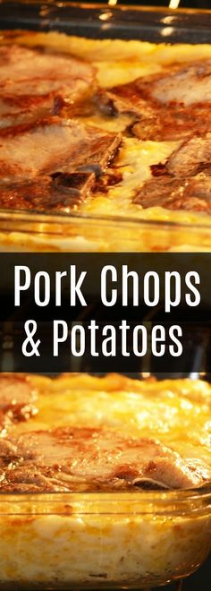 Looking for easy pork chop recipes? This is my favorite way to make pork chops i. - Looking for easy pork chop recipes? This is my favorite way to make pork chops in the oven! Pork Chop Casserole, Hashbrown Casserole Recipe, Dinner Casserole Recipes, Cheesy Potato Casserole, Cheesy Potatoes, Dinner Recipes, Burrito Casserole, Dinner Dishes, Easy Pork Chop Recipes