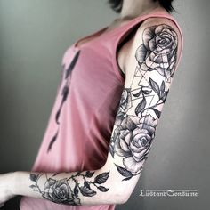 Sleeve rose tattoo with geometric forms by lustandconsume