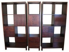 Indonesian Hardwood Bookshelf Set - eclectic - bookcases - Chairish