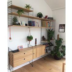 Living Room Kitchen, Home Living Room, Living Room Furniture, Bookcase Shelves, Shelving, String Regal, String Shelf, Slate Flooring, Home Alone