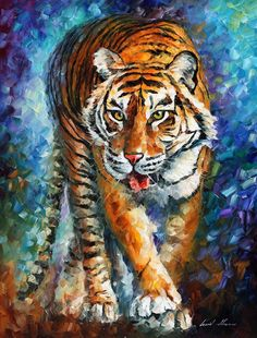 """Scary tiger"" by Leonid Afremov ___________________________ Click on the image to buy this painting ___________________________ #art #painting #afremov #wallart #walldecor #fineart #beautiful #homedecor #design"