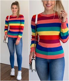 💞 E Commerce, Ideias Fashion, Graphic Sweatshirt, Stripes, Sweatshirts, Sweaters, Instagram, Style, Winter Fashion Looks