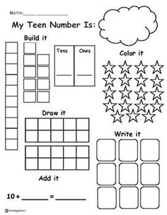 Let's Record Those Teen Numbers Although a work sheet great way to reinforce children's understandings of teen numbers!
