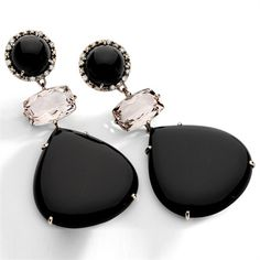 Brumani Nude Casual Earrings with diamonds, smoky quartz and black