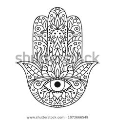 "Similar Images, Stock Photos & Vectors of Hamsa hand drawn symbol with lotus. Decorative pattern in oriental style for interior decoration and henna drawings. The ancient sign of ""Hand of Fatima"". Yoga Symbols, Hand Symbols, Symbols And Meanings, Hamsa Hand Tattoo, Hand Tattoos, Coloring Books, Coloring Pages, Hand Der Fatima, Henna Drawings"