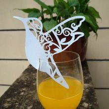 10pcs/set Hot Paperboard Bird Laser Cut Glass Place Cards Wedding Party Invitation(China (Mainland))
