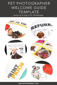 """This adorable """"Haute Dog"""" magazine style welcome guide template is a must have for your pet photography business.  Includes pre-written text sections and can be e-mailed to your clients or uploaded for online viewing.  Get yours today at  http://www.magazinemama.com/collections/magazines/products/dog-photography-magazine-template"""