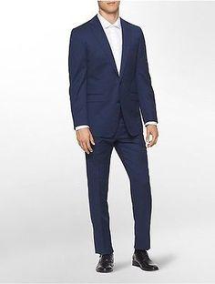 Calvin Klein Mens X Fit Ultra Slim Fit Bright Blue Suit