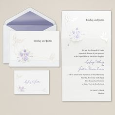 Doves With Roses Wedding Invitation | #exclusivelyweddings #purpleweddinginvitation | #purplewedding