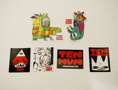 6 Ten Hundred Stickers.High Quality weather proof sitckers.