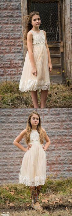 Flower girl dress, ivory flower girl dress, girls dress, country flower girl, ivory lace dress, FG0122