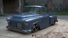 1955 Chevy 3100 Pick Up. This is a design for a real vehicle being built. The client was unsure of color and mag options to go with so this colorway and mag selection was created to aid in the final build.