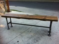 Reclaimed Wood Bench with Pipe Legs by LeventhalVermaat on Etsy, $410.00