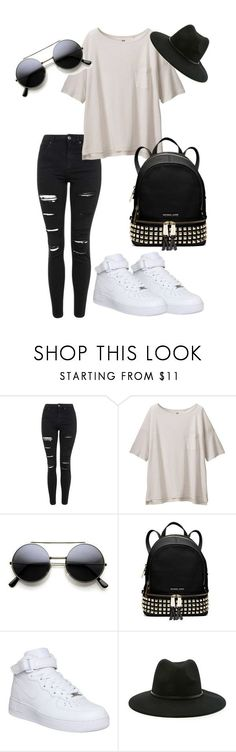 """Vintage 2"" by aishaamin25 ❤ liked on Polyvore featuring Topshop, Uniqlo, MICHAEL Michael Kors, NIKE, Forever 21, vintage, women's clothing, women's fashion, women and female"