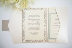 Triple-Layered Pocket Invitation Suite in mauve and nude by PennyAnnDesigns on Etsy