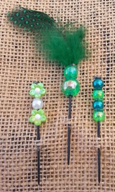 Green Feathers and Beads Push Pin Set by GrlFridayProductions, $5.00