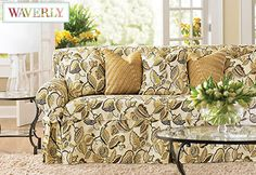 Sure Fit Slipcovers Fantasy Fleur by Waverly™ One Piece Slipcovers - Loveseat