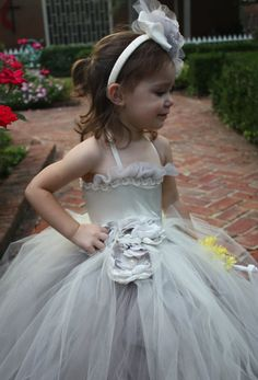 Gray and Ivory  Flower Girl Tutu Dress.  by Sassylittletutus