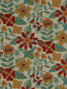 Modern floral fabric in poppy, teal, tangerine, honeydew and ivory. This mid-weight fabric is suitable for furniture upholstery, pillows and