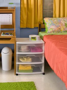 Too many clothes for the school issued dresser? Try using a Sterilite drawer cart!