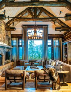 Home in Montana... A little busy but nice beautiful window design...
