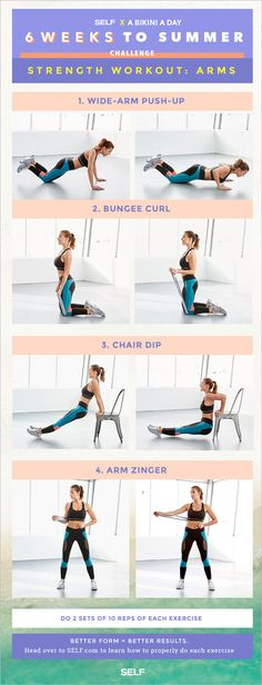 Here's what you need to know about this workout: YOU'LL NEED A resistance band and a sturdy household chair. (But heads up — if you don't have a resistance band, we'll offer some modifications below, don't sweat it.) DO 2 sets of 10 reps for each mov A Bikini A Day, Workout Challenge, Workout Ideas, Get In Shape, Fitness Tips, Fitness Routines, Fitness Inspiration, Challenges, Arm Workouts
