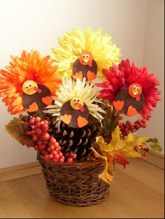 Thanksgiving Crafts for Children - Flower Turkey Centerpieces