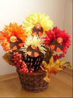 Thanksgiving Crafts for Children - Flower Turkey Centerpieces