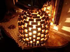 Check out this cool lantern project made of wine corks.