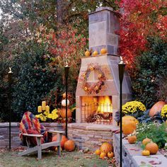 Another great example of using gas tiki torches well into autumn. Bring some more light and warmth to an outdoor fire pit or patio.   www.buytikitorches.com