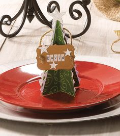 Perfect for Christmas dinner! Super cute tree place card holders!