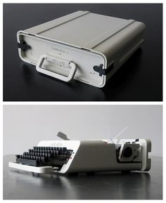 Industrial design / Portable typewriter by Olivettiから Olivetti Typewriter, Charles Ray Eames, Portable Typewriter, Vintage Design, Technology Gadgets, Retro, Industrial Design, Design Trends, Design Art