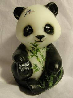 Fenton Natural Panda Bear Bamboo Dragonfly So Cute OOAK by CC Hardman | eBay