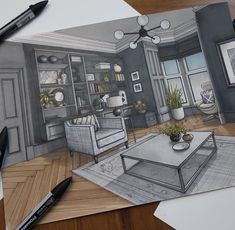 Living Room Drawings by Malcolm Begg design drawing Interior Design Drawings of a Victorian House Croquis Architecture, Interior Architecture Drawing, Interior Design Renderings, Architecture Concept Drawings, Drawing Interior, Interior Rendering, Interior Sketch, Architecture Design, Classical Architecture