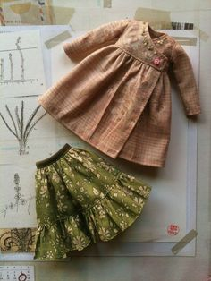 Cache Coeur Dress set for BlythePink and Green par moshimoshistudio