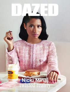 AUTUMN/WINTER, 2014: Nicki Minaj fronts the autumn/winter 2014 TWISTED REALITY   TWISTED FANTASY issue of DAZED, shot by Jeff Bark and styled by Robbie Spencer. Nicki Minaj wears Chanel. Read about the new issue here: http://www.dazeddigital.com/artsandculture/article/21582/1/nicki-minaj-double-cover-for-dazeds-a-w-issue