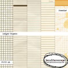 Quality DigiScrap Freebies: Ledger paper pack freebie from Jennifer Scraps