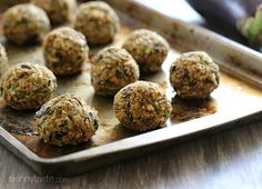 These vegan eggplant meatballs are amazing meatless meatballs, made with eggplant, white beans and breadcrumbs to hold them together. If I was a vegan, I would have no problem eating this for dinner every night! Vegan Eggplant, Eggplant Recipes, Eggplant Parmesan, Baked Eggplant, Vegan Vegetarian, Vegetarian Recipes, Cooking Recipes, Healthy Recipes, Eating Vegan