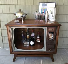 Upcycled Zenith Space Command 600 Television Console/Retro Bar/TV Bar/Furniture by MidIslandMiscellany on Etsy