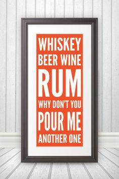 Whiskey Beer Wine Rum Print by BentonParkPrints on Etsy, $39.00