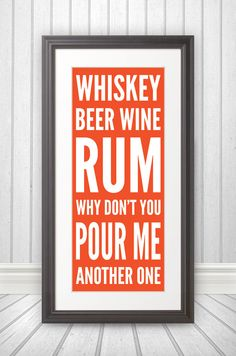 Whiskey Beer Wine Rum Print by BentonParkPrints on Etsy, $39.00