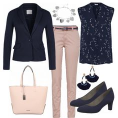 PrettyWork Outfit - Business Outfits at FrauenOutfits.de - PrettyWork Ladies Outfit – Buy a complete business outfit at a reasonable price FrauenOutfits. Office Outfits Women, Stylish Work Outfits, Work Casual, Classy Outfits, Casual Dinner, Business Outfit Frau, Business Professional Attire, Business Casual Outfits, Navy Blazer Outfits