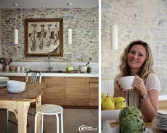 Cuisine en chêne massif et plan de travail en Quartz Silestone® blanc conçus par l'architecte d'intérieur Marie-Laure Helmkampf