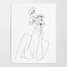 Woman face with flower illustration art print poster - Blumen Malen- Frauengesicht mit Blumenillustrations-Kunstdruckplakat Woman& face with flower illustration art print poster, Art And Illustration, Flowers Illustration, Illustration Design Graphique, Floral Illustrations, Illustrations Posters, Watercolor Illustration, Art Sketches, Art Drawings, Tattoo Sketches