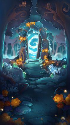 Dream Forest Solitaire main menu on Behance Fantasy Art Landscapes, Fantasy Landscape, Landscape Art, Art Environnemental, Game Concept Art, Art Et Illustration, Wow Art, Environmental Art, Grafik Design