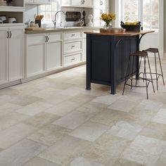 Resilient Natural stone vinyl floor upscale rectangular large-scale travertine