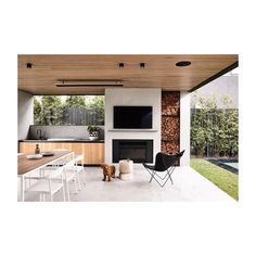 The perfect outdoor entertaining space. and I'll take one of the cute puppy too please 🐶 Brighton 5 by Styling… Outdoor Bbq Kitchen, Outdoor Kitchen Design, Patio Design, Outdoor Living Rooms, Outdoor Dining, Balkon Design, Outdoor Areas, Outdoor Entertaining, Pergola